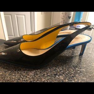 Never used Zara heels. Black with short blue heel.